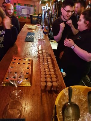Somebody bought a (few) rounds of shots for the bar